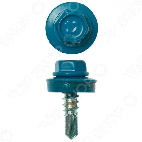 Набор саморезов кровельных Зубр СКМ для металлических конструкций. Цвет: голубой
