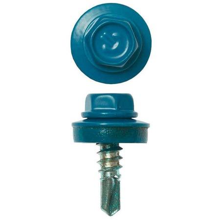 Купить Набор саморезов кровельных Зубр СКМ для металлических конструкций. Цвет: голубой