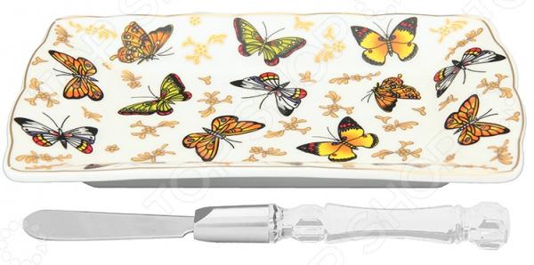 Тарелка под масло Elan Gallery с ножом «Бабочки»