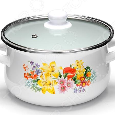 Кастрюля с крышкой Mayer&Boch «Садовый букет» посуда кухонная