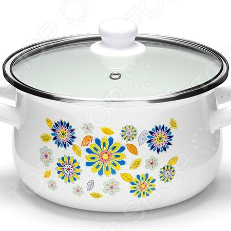 Кастрюля с крышкой Mayer&Boch «Цветы-васильки» посуда кухонная
