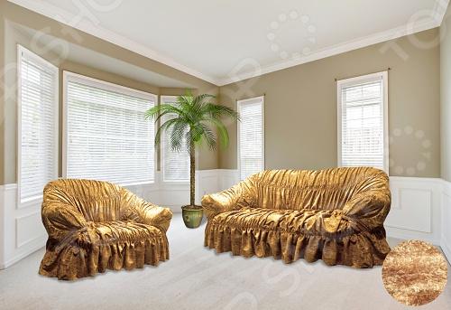 Натяжной чехол на трехместный диван и чехлы на 2 кресла ОТК велюровый