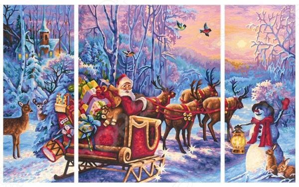 Набор для рисования по номерам Schipper «Триптих. Дед Мороз» schipper картина триптих по номерам schipper орхидеи 50х80 см