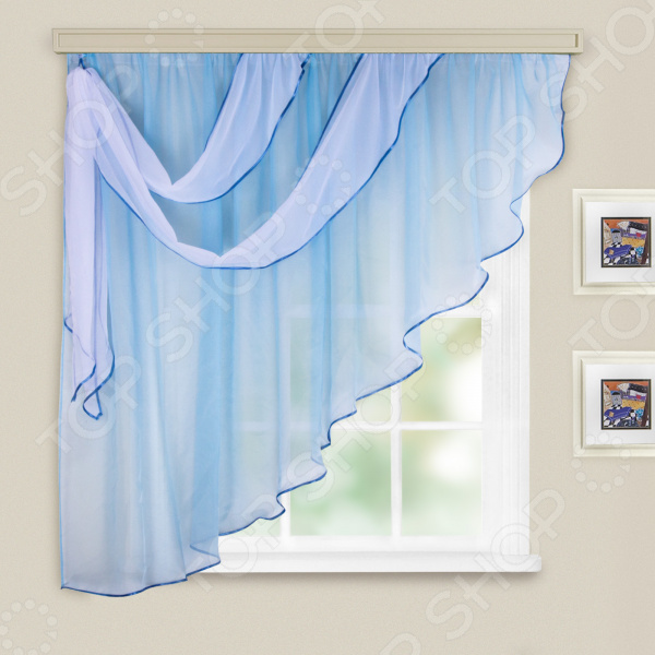 Комплект легких штор левосторонний WITERRA «Азалия». Цвет: голубой