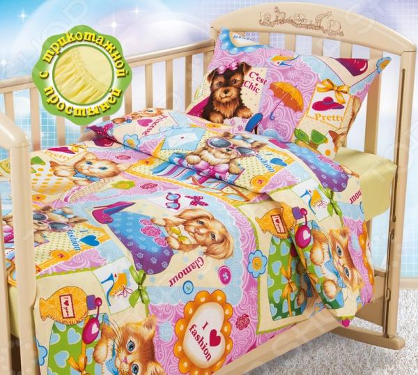 Ясельный комплект постельного белья Бамбино «Модники» с трикотажной простыней