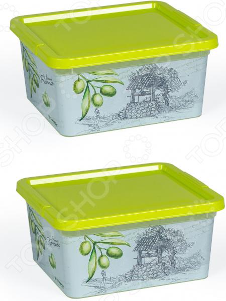 Набор контейнеров прямоугольных Полимербыт «Прованс олива»