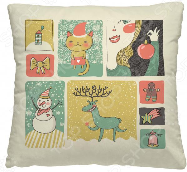 Подушка декоративная Волшебная ночь «Новогодний коллаж»