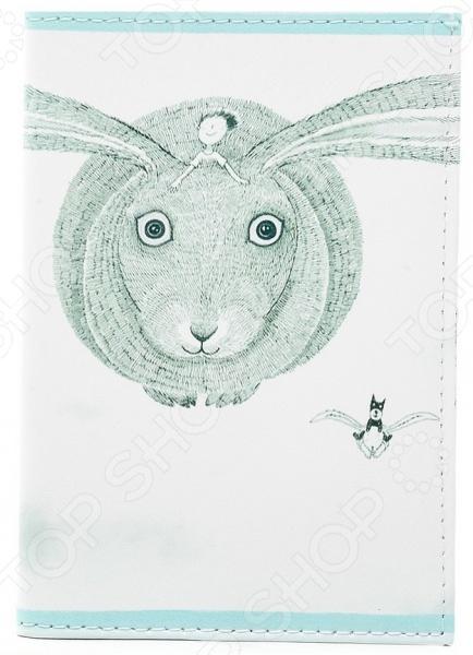 Обложка для автодокументов кожаная Mitya Veselkov «Кролик летит» обложки mitya veselkov обложка для автодокументов райский сад