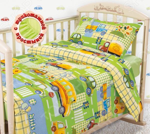 Ясельный комплект постельного белья Бамбино «Машинки» с трикотажной простыней