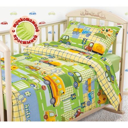 Купить Ясельный комплект постельного белья Бамбино «Машинки» с трикотажной простыней