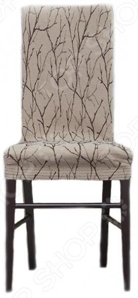 Комплект натяжных чехлов на стул Еврочехол «Ванесса». Рисунок: каштан