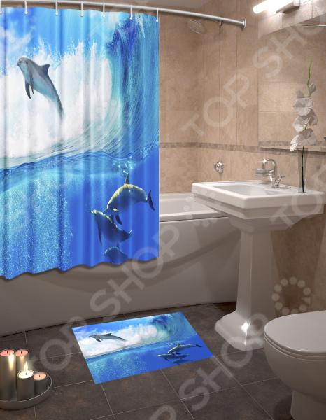 Набор для ванной комнаты: шторка и коврик ТамиТекс «Дельфины» цена
