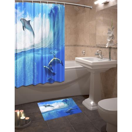 Купить Набор для ванной комнаты: шторка и коврик ТамиТекс «Дельфины»