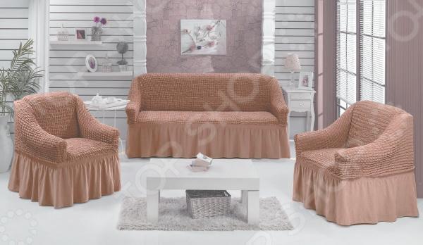 Натяжной чехол на трехместный диван и чехлы на два кресла Karbeltex 1731169
