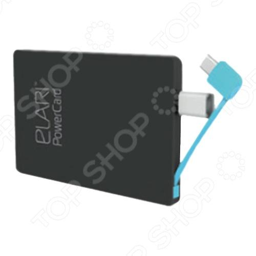Аккумулятор внешний Elari PowerCard 2500 устройство, габариты которого превосходят размеры кредитной карты всего на несколько миллиметров. Благодаря компактным размерам PowerCard вес 60г, толщина 6 мм , он без труда поместится в кармане или в небольшом кошельке. Аккумулятор подходит для заряда любых micro-USB устройств. В комплекте также представлен переходник Lightning, уже встроенный в корпус, который позволяет зарядить iPhone 5 5S 5C 6 и iPad. Словом, вы можете забыть о многочисленных дополнительных проводах, ведь Elari PowerCard 2500 универсален. Корпус устройства оснащен светодиодным индикатором процесса заряда. Дополнительно имеется защита от глубокого разряда, короткого замыкания, перегрева и перезаряда. Аккумулятор предоставляет пользователю возможность зарядки двух устройств одновременно, а одного заряда самого PowerCard будет достаточно, чтобы напитать аккумулятор iPhone целых 2 раза. Выходное напряжение устройства 5В, сила тока на входе выходе 1 1А. Время полной зарядки внешнего аккумулятора 3ч. Количество циклов около 500. Диапазон рабочих температур 0-45 градусов. Материал корпуса пластик.