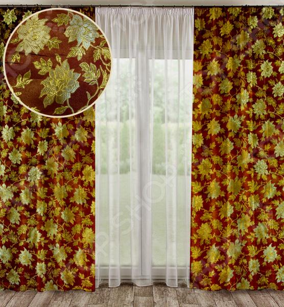 Комплект штор «Дворцовые тайны». Цвет: бордовый
