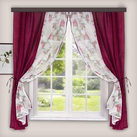 Купить Комплект: тюль и шторы WITERRA «Хлоя». Цвет: белый, бордовый. В ассортименте