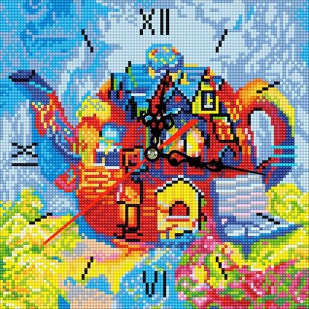 Купить Часы из алмазной мозаики Color Kit «Чайный дом»
