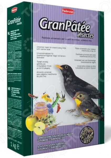 Корм для насекомоядных птиц Padovan GranPatee insectes с насекомыми корм для тропических птиц padovan wellness mix полнорационный 1кг