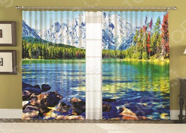 Комплект фотоштор с тюлем «Горы»