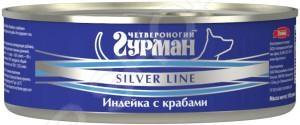 Корм консервированный для собак Четвероногий Гурман Silver «Индейка с крабами в желе»