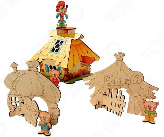 ролевые игры lilliputiens пальчиковые игрушки волк и три поросенка Игрушка развивающая WOODY «Три поросенка»