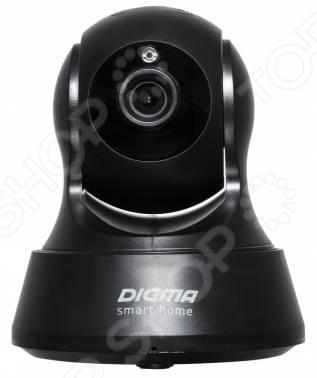 IP-камера видеонаблюдения Digma Дивизион важный компонент современных систем безопасности, позволяющий осуществить видеонаблюдение в квартире, офисе и прочих помещениях. Кроме того, такая камера пригодится для управления удаленными проектами и мониторинга различных технологических процессов на производстве.  Устройство оснащено стеклянной оптикой с двойным инфракрасным фильтром. Это позволяет получать четкую картинку как при ярком освещении, так и в сумерках. Также предусмотрена инфракрасная подсветка для съемки в полной темноте на расстоянии до 5 метров.  Вам не придется прокладывать большое количество кабелей, поскольку камера подключается посредством беспроводного интерфейса Wi-Fi.  Вы можете установить в камеру свою карту памяти microSD. В случае разрыва соединения запись будет осуществляться на нее.  Управление камерой, включая поворот и наклон, осуществляется при помощи веб-интерфейса или мобильного приложения.  Функция двусторонней аудиосвязи.  Возможность использования в качестве видеоняни.  Полная безопасность. При срабатывании датчика движения камера подаст пользователю предупреждающий сигнал и отправит снимок для оценки обстановки в помещении.