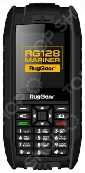 Мобильный телефон защищенный RugGear RG128 Mariner оригинальный телефон с уникальным свойством он не тонет в воде. Телефон-амфибия, который будет удобен для использования в экстремальных ситуациях: походы в горы, аквабайкинг, катание на квадроциклах и прочие занятия. Корпус изготовлен из ударопрочного материала, который убережёт внутренности телефона при падении. Имеет компактно размещенные кнопочки и большой цветной дисплей с разрешением 176х220 пикселей. Ожидать от такого телефона сверхнового функционала не стоит, так как не является дорогим смартфоном. Зато отлично ловит сигнал и батарейка держится значительно дольше. Несмотря на встроенную память, телефон поддерживает флеш-карту типа microSD до 8 гб TransFlash . Плавает аппарат только с батарейкой на 650 мАч, с большой тонет.  Защита корпуса IP-68;  Поставляется с двумя аккумуляторами: стандартный 650 мАч, повышенной емкости 1400 мАч