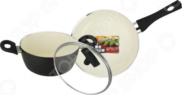 Набор кухонной посуды c внутренним керамическим покрытием Vitesse «Black–and–White» VS-2900 набор посуды korkmaz serena c керамическим покрытием цвет бежевый 3 предмета