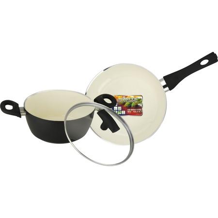 Купить Набор кухонной посуды c внутренним керамическим покрытием Vitesse «Black–and–White» VS-2900