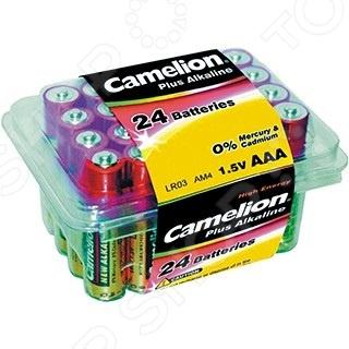 Набор батареек щелочных Camelion LR03 Plus Alkaline PB-24 батарейка aaa camelion alkaline plus lr03 lr03 bp2 2 штуки