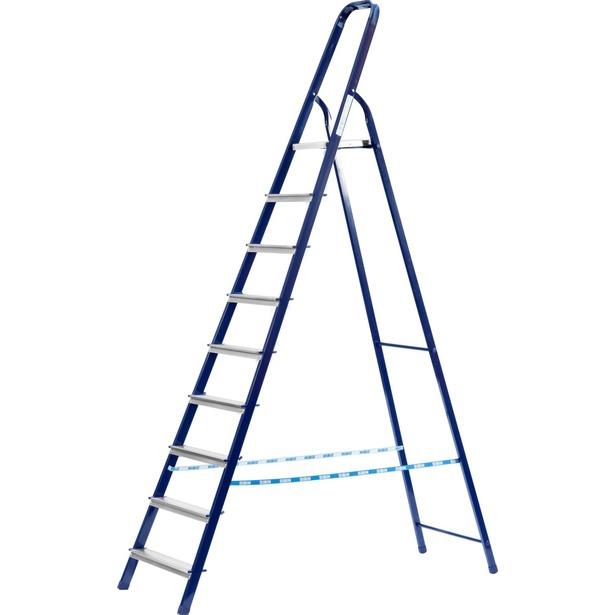 фото Лестница-стремянка Сибин 38803. Высота верхней ступени: 208 см. Количество ступеней: 10