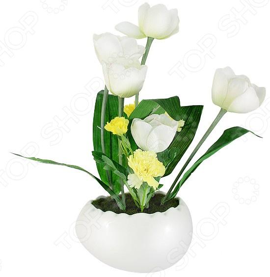 Декоративные цветы Dream Garden «Тюльпаны белые» в вазе куплю декоративные растения в севастополе