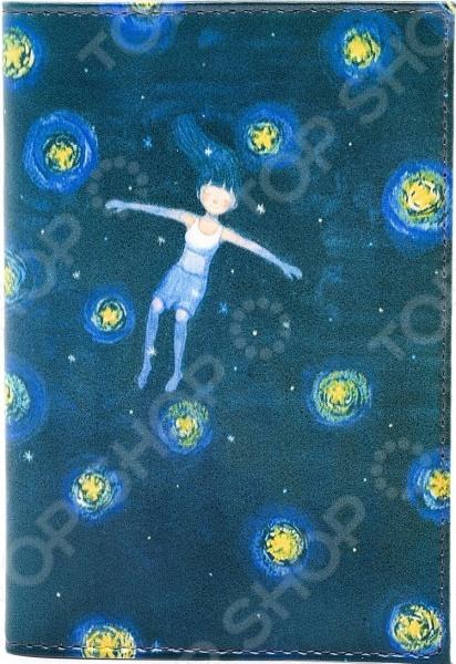Обложка для автодокументов кожаная Mitya Veselkov «Девочка звездной ночью»
