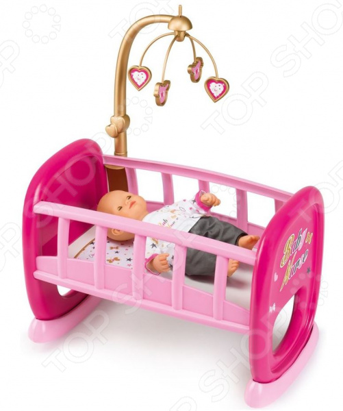 Кроватка-люлька для куклы Smoby Baby Nurse с мобилем колыбель для пупса smoby baby nurse 28 5х52х26см