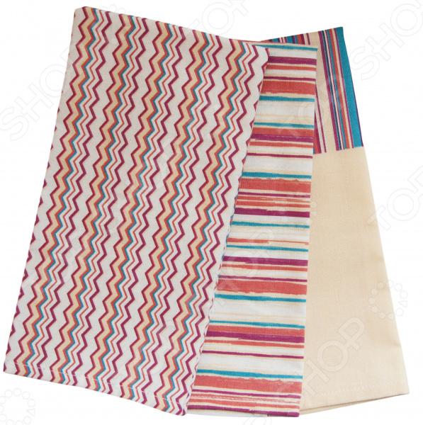 Комплект из 3-х кухонных полотенец BONITA «Итальянская полоска» ткань для полотенец оптом в москве