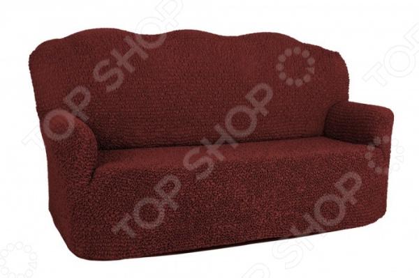 Натяжной чехол на двухместный диван Еврочехол «Микрофибра. Бордо»