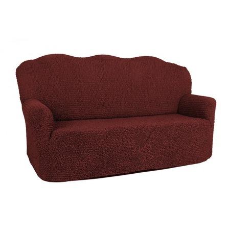 Купить Натяжной чехол на двухместный диван Еврочехол «Микрофибра. Бордо»