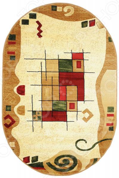 Ковер овальный Kamalak tekstil «Геометрический». Цвет: бежевый