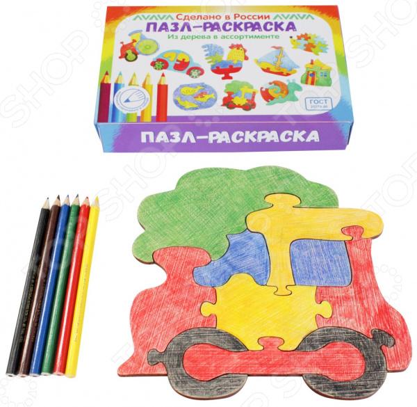 Пазл-раскраска Мастер игрушек «Паровозик» заяц и паровозик раскраска
