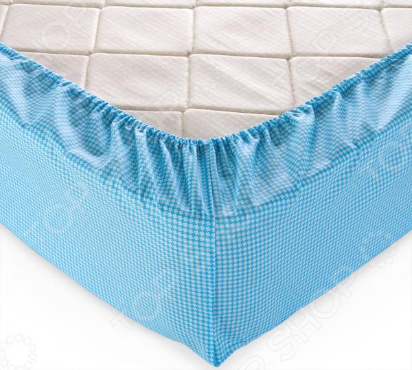 Простыня на резинке ТексДизайн «Текстура». Цвет: голубой