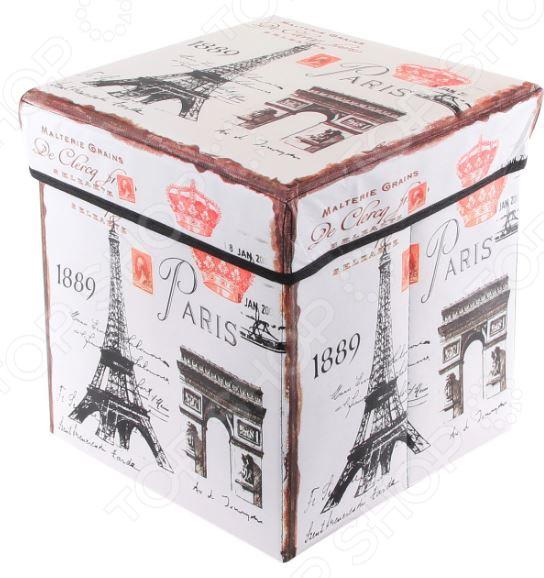 Пуф складной с ящиком для хранения EL Casa «Эйфелева башня» 31х31х31 см клуб знаменитых капитанов встречи начинаются cdmp3