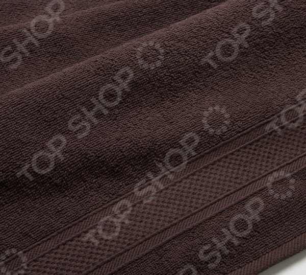фото Полотенце махровое Uztex с бордюром. Цвет: коричневый, Полотенца