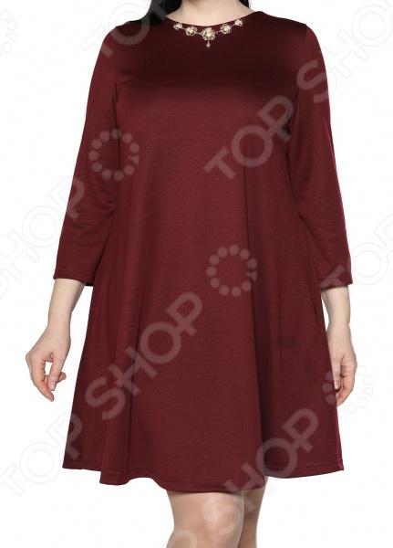 Платье ТРЕНД «Элемент роскоши». Цвет: бордовый платье тренд стильный силуэт цвет бордовый
