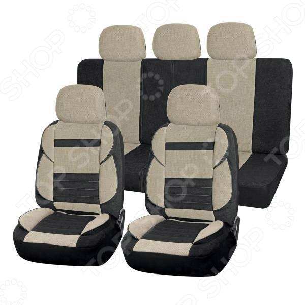 Набор чехлов для сидений SKYWAY Protect 2 «Тонкие полосы». Цвет: бежевый, черный. Уцененный товар Набор чехлов для сидений SKYWAY S01301088 /