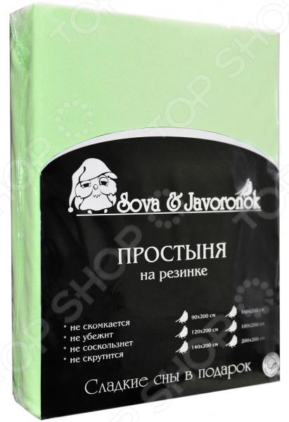Zakazat.ru: Простыня на резинке Сова и Жаворонок трикотажная. Цвет: светло-зеленый