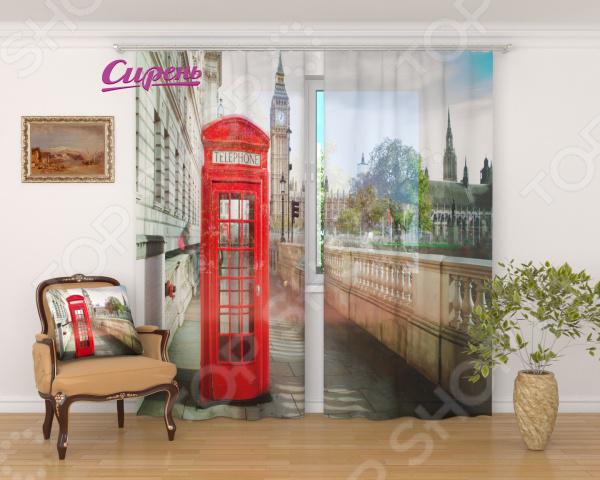 Фототюль Сирень «Лондон. Телефонная будка» evoform зеркало в багетной раме evoform 52x142 см 6322099 mpmxd6r 6322099