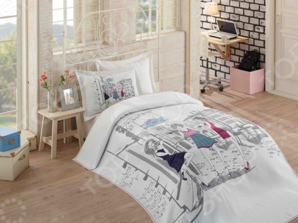Комплект: покрывало, простыня и 2 наволочки Hobby Vienna для создания комфортной обстановки, а также украшения спальной комнаты. Чтобы сон всегда был комфортным, а пробуждение приятным, мы предлагаем вам этот комплект из белья с приятным на вид цветом и высоким качеством пошива. Белье из сатина с жаккардовым покрывалом, специально придуманное для подростков с учетом эстетически модных и стильных тенденций. Для изготовления белья используется текстиль высокого качества, сделано по специальной технологии сложного переплетения нескольких видов нитей. Белье способно хорошо пропускать воздух и впитывать влагу в течении ночи. Также имеет отличные характеристики усадки и практически не мнется. Дизайн белья предусматривает красочные, объемные, реалистичные рисунки, нанесенные на ткань методом реактивной печати. Преимущества:  Белье гипоаллергенно, легко впитывает частички влаги, за счет чего оно хорошо охлаждает, кожа дышит.  Прочная и износостойкая ткань с двойным нитяным плетением.  Мягкая, гладкая и шелковистая поверхность.  Легко стирать и гладить, не беспокоясь о потере формы и цвета.  Красивый принт на внешней стороне.  Перед первым применением комплект постельного белья рекомендуется постирать. Перед этим выверните наизнанку наволочки и пододеяльник. Для сохранения цвета не используйте порошки, которые содержат отбеливатель. Рекомендуемая температура стирки 40 С и ниже, без использования кондиционера или смягчителя воды.