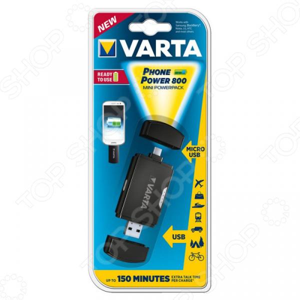 Внешний аккумулятор VARTA 800мАh Micro USB аккумулятор для мототехники varta ytx9 4 funstart agm 508012008 8ah рос сух с пакетом электролита
