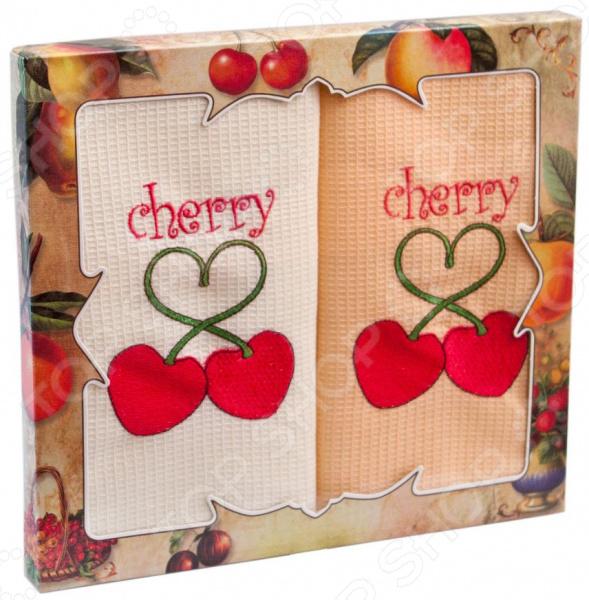 Комплект из 2-х кухонных полотенец Dinosti Cherry комплект из 3 х кухонных полотенец dinosti розовые хрюшки